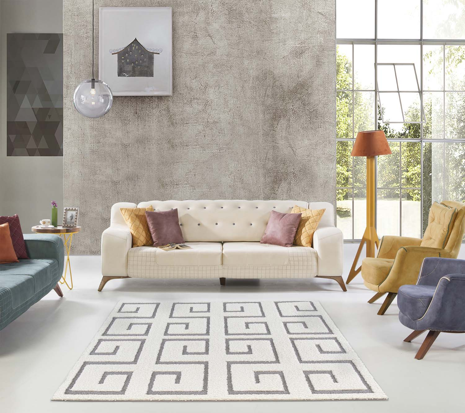 Mod Arte Platinum Shag Collection Plush Area Rug Modern Contemporary Style White Gray 6 7 X6 7 Sq