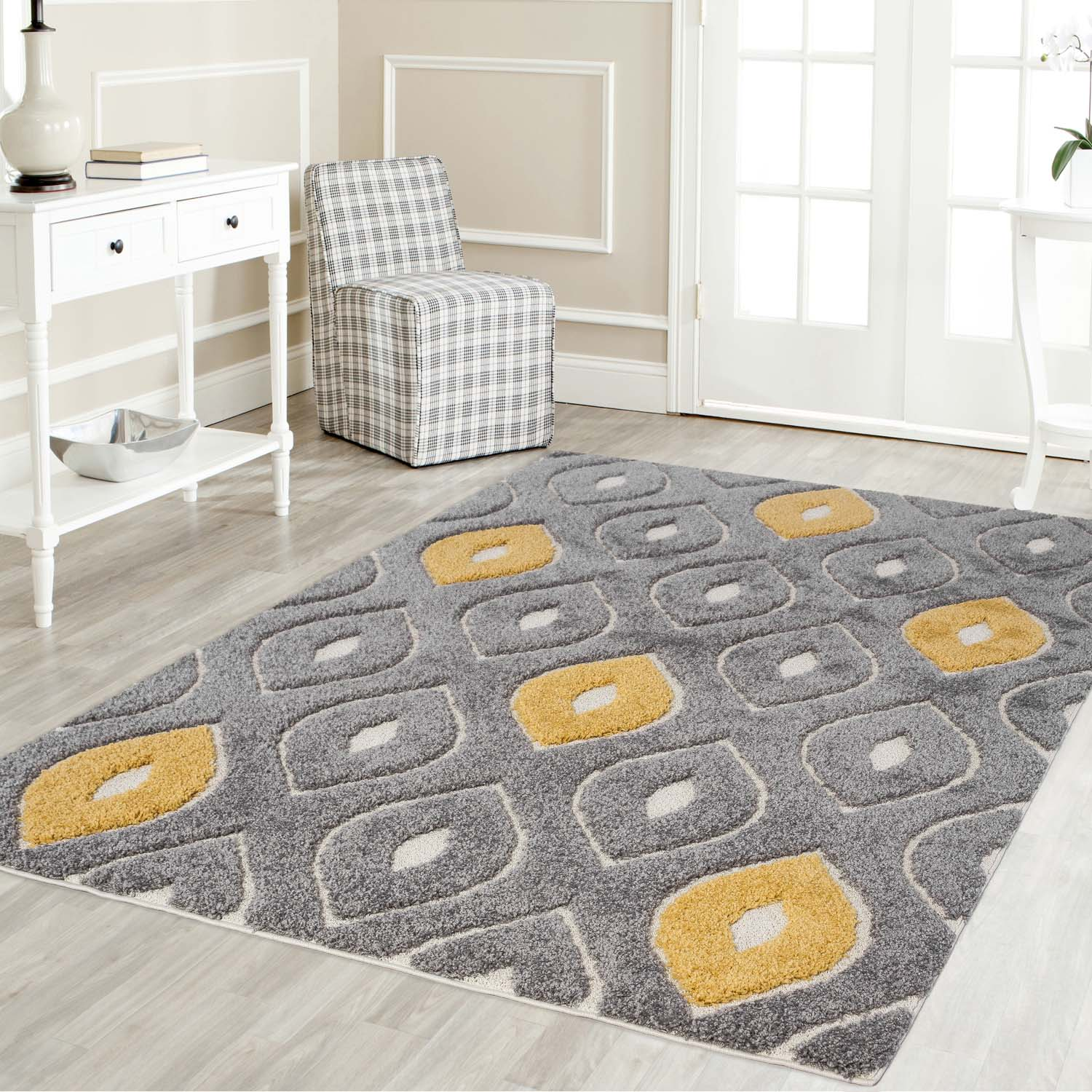 Picture of: Mod Arte Platinum Shag Collection Plush Area Rug Modern Contemporary Style Grey Yellow 3 9 X5 2 Shoprhc