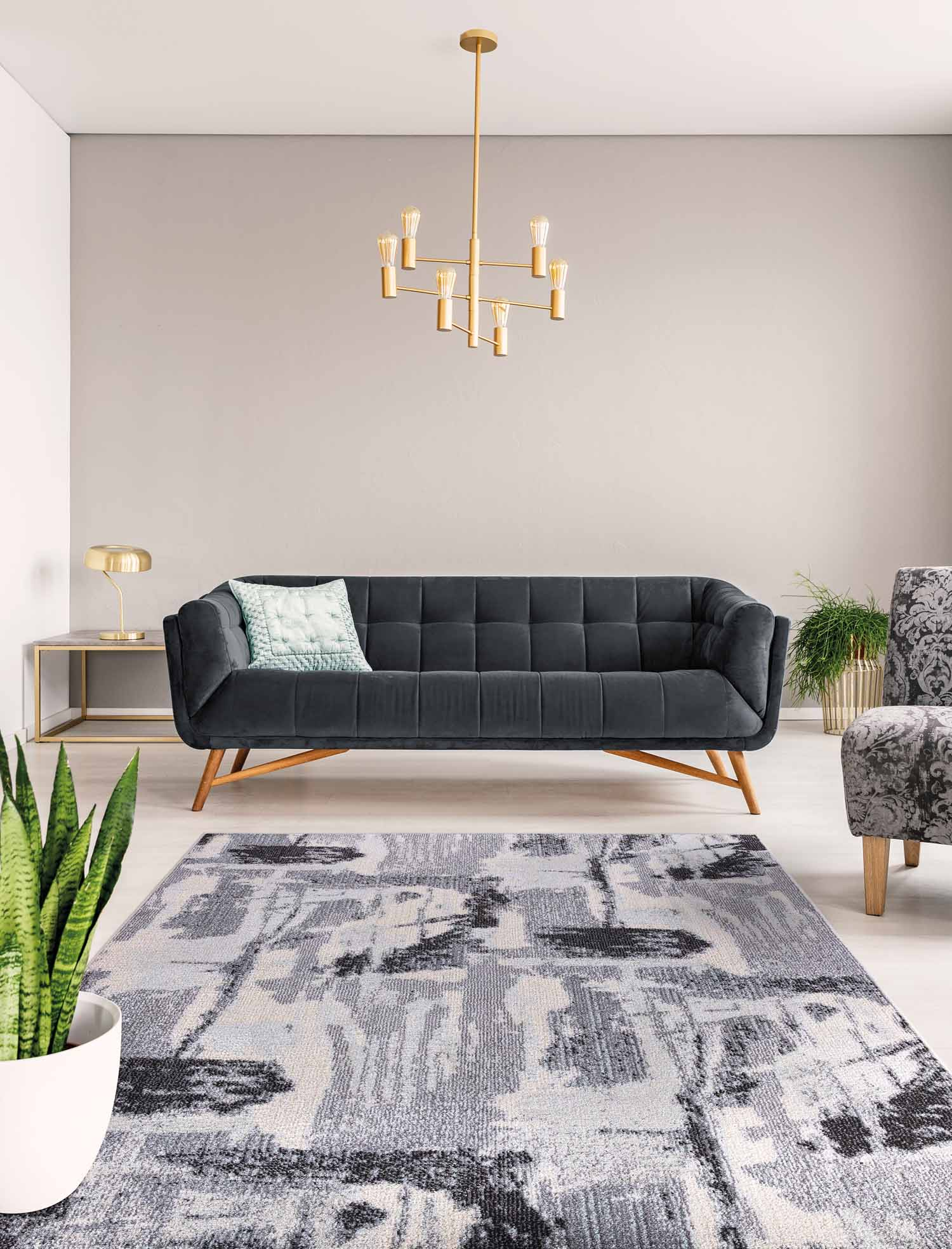 Mod Arte Jewel Collection Area Rug Transitional Contemporary Style Abstract Geometric Distressed Soft Plush Grey Living Room